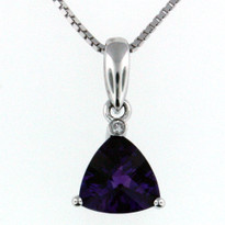 14kt White Gold Amethyst Pendant with 1 Diamond
