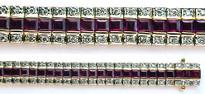 10.63ct Princess Cut Ruby Bracelet with 1ct Diamond