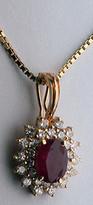 14k Ruby Pendant - 28 Diamonds weighing 1/2ct