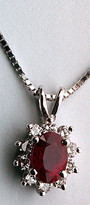 Stunning Ruby Pendant with Diamonds in 14k White Gold