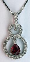 18k White Gold Circle Diamond Ruby Pendant