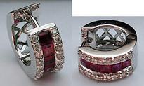 Diamond Huggies with Rubies (32 Diamonds)