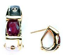 Ruby Huggie Earring in 14k Gold