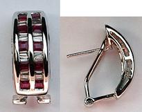 14k Channel set Ruby Earrings