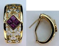 Clip Back Yellow Gold Ruby Earrings