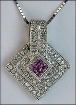 Princess Cut Pink Sapphire Pendant with Diamonds