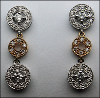 2 Tone Diamond Earrings (Hanging/Dangling)