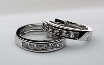 Channel Set Diamond Huggies in 18k White