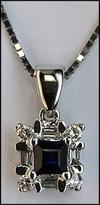 Princess Cut Sapphire Pendant w/ Diamonds