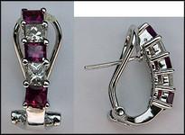 Pink Sapphire & Diamond Clip Earrings (Princess)