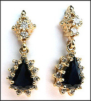 Hanging Pear Shaped Sapphire Earrings w/ 26 Diamonds