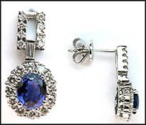 Dangling Blue Sapphire & Diamond Earrings - 18kt White Gold