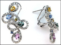 Multi Sapphire Colored Gemstone Earrings (Yellow, Pink, Blue)