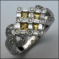 4 Stone Yellow Sapphire Ring (Princess Cut) .86ct Diamonds