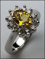 Yellow Sapphire Ring with 3/4ct Diamond