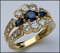3 Sapphire Gold Ring with 1.21ct F Color Diamonds