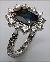 14k Sapphire & Diamond Eternity Ring / F-VS1