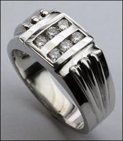Diamond .42ct Men's White Gold Ring