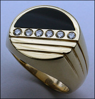 Black Onyx and Diamond Ring for Men