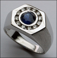 1ct (.97ct) Sapphire and Diamond Men's Ring