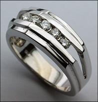 5 Stone Mens Diamond Ring