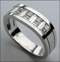 18kt White Baguette and Princess Men's Ring