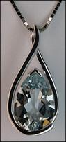 Aquamarine (Pear Shaped) Gemstone Pendant 14kt