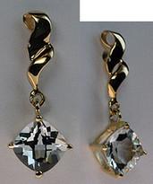 Hanging Aquamarine Earrings 14k Gold for Women