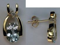 14k Yellow Gold Aquamarine Earrings