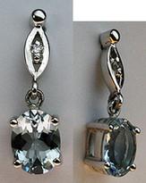 14k Aquamarine and Diamond Dangling Earrings
