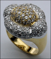 18kt Two Tone Diamond Ring, 18kt Two Tone Gold