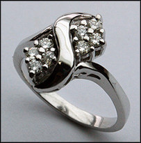 14kt White Ladies Diamond Ring
