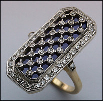 14kt Diamond and Lapis Ladies Ring