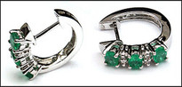 Emerald Huggie Earrings - Emerald & Diamond Huggie Earrings