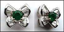 Butterfly Emerald and Diamond Stud Earrings, 18kt White Gold