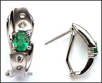 Emerald Clip Back Earring with Diamonds, 8 Diamonds, 14kt