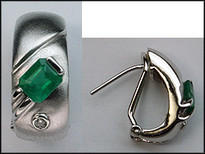 Emerald .78ct White Gold Earrings with Matte Finish