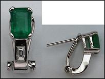 Clip Back Emerald Earrings 14k White Gold