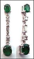 18k White Gold Diamond & Emerald Earrings