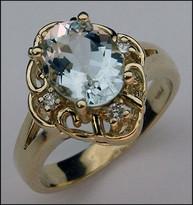 Aquamarine Ring - Yellow Gold 14kt Aquamarine and Diamonds
