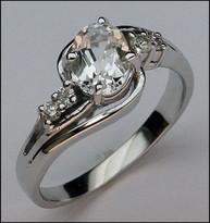 Aquamarine Ring, 1.00ct Aquamarine & Diamond Ladies Ring