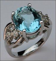 Aquamarine Jewelry, White Gold Aquamarine & Diamond Ring