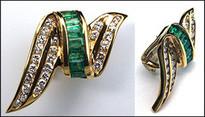 18k Diamond & Emerald Clip Back Earrings