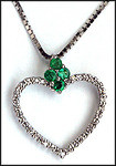 Heart Pendant with Diamonds and Emeralds