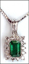 Emerald .69ct Pendant in 18kt White Gold, .21ct Diamond
