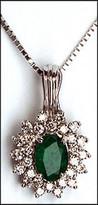 14kt Emerald and Diamond Cluster Pendant