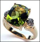 14kt Yellow Gold Peridot Ring with Diamonds