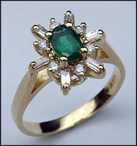 14kt Emerald Ring with Baguettes