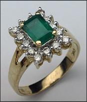 1.00 ct Genuine Emerald Gemstone Ring, 14 Diamonds