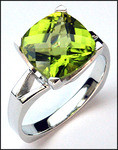 White Gold Peridot Solitaire Ring